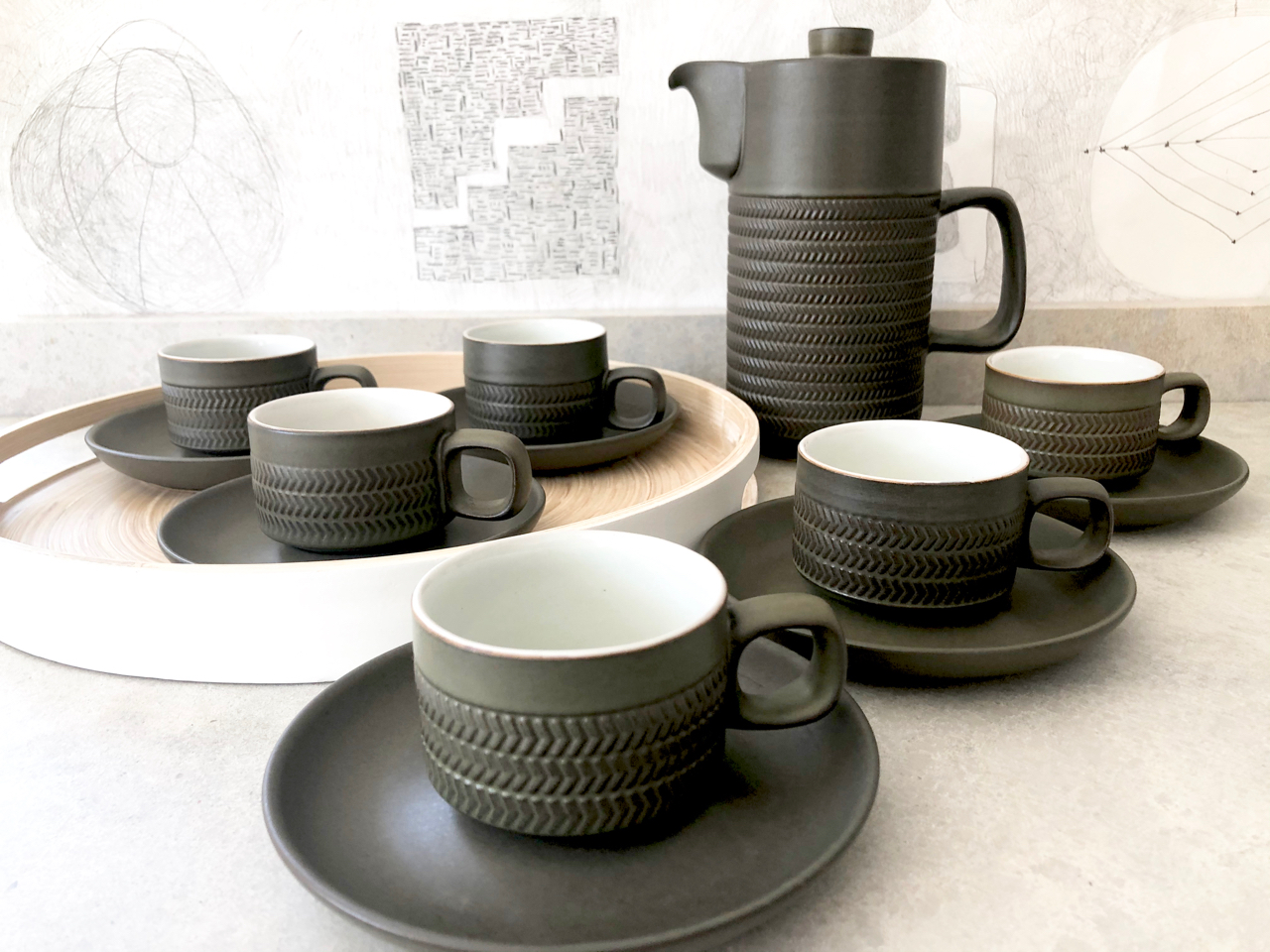 Denby Chevron coffee set